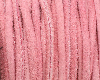 Pink Stitched Suede Round Leather Cord 2.5mm
