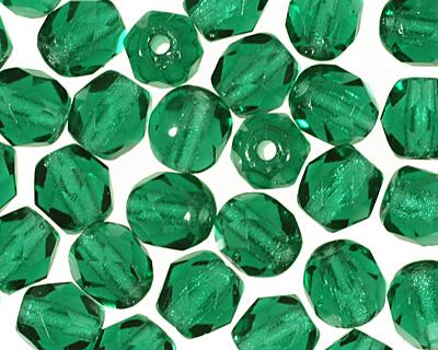 Czech Fire Polished Glass Green Emerald Round 4mm