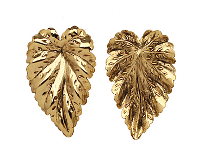 Stampt Antique Gold (plated) Large Leaf 20x32mm (no drill hole)