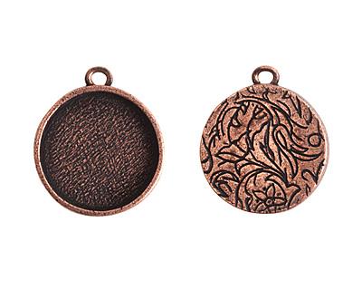 Nunn Design Antique Copper (plated) Crest Circle Bezel Pendant 23x27mm