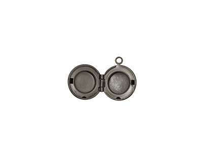 Gunmetal Small Round Ribbon Heirloom Locket 13x15mm