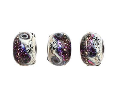 Grace Lampwork Amethyst Jewel Celestial Rondelle 9x14mm