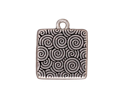 TierraCast Antique Silver (plated) Hammertone Square Frame Drop 19x22mm