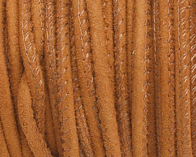 Camel Stitched Suede Round Leather Cord 2.5mm