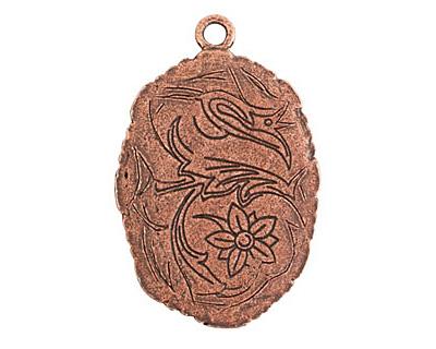 Nunn Design Antique Copper (plated) Large Ornate Oval Bezel Pendant 23x35mm