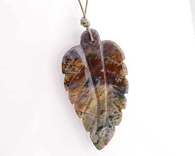 Fancy Jasper Carved Leaf Focal 29-31x50-55mm