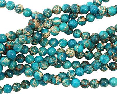 Ocean Blue Impression Jasper Round 6mm