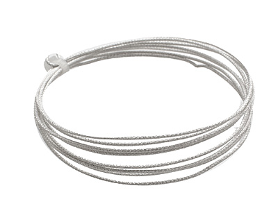 German Style Wire Silver (plated) Weave Pattern Round 18 gauge, 1.5 meters