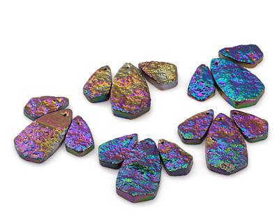 Metallic Peacock Agate Pendant Set 20-28x33-51mm