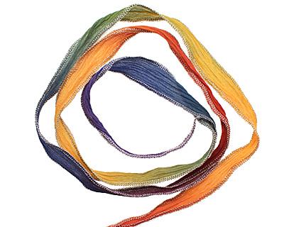 Pride Rainbow w/ Silver Metallic Edges Hand Dyed 100% Silk Ribbon 1/2