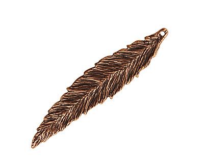 Ezel Findings Antique Copper Crack Willow Leaf Pendant 12x55mm