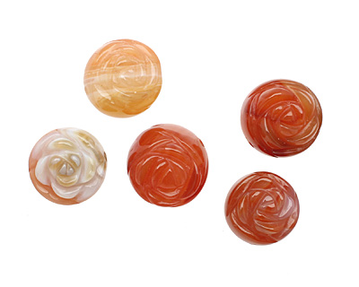Carnelian (natural) Carved Flower Round 15-17mm