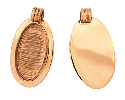 Copper Lipped Oval Bezel 19x38mm
