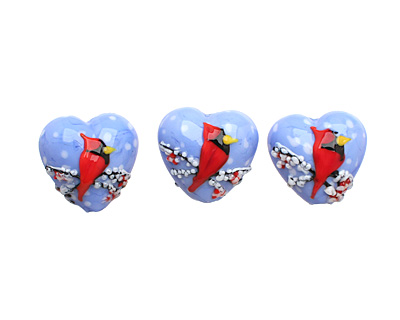 Grace Lampwork Winter Red Cardinal Heart 19-20mm