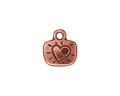 TierraCast Antique Copper (plated) Love Charm w/ Glue In 12x14mm