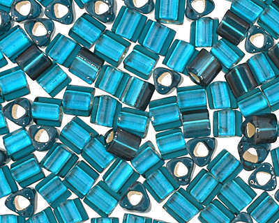TOHO Frosted Teal (with Silver Lining) Triangle 11/0 Seed Bead