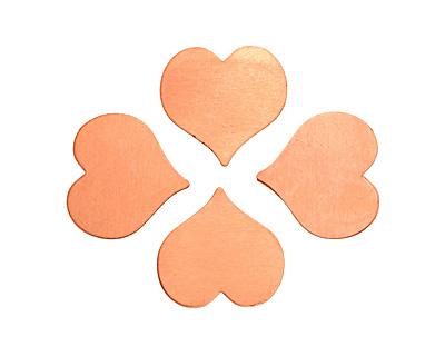 Copper Heart Blank 22mm