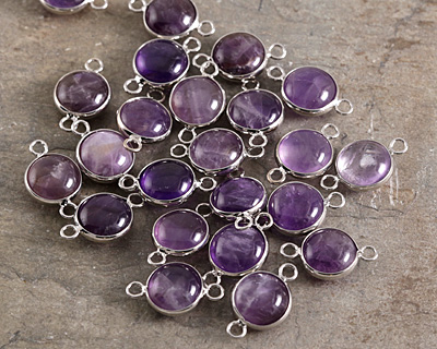 Dogtooth Amethyst Coin Focal Link w/ Silver Finish 21x13mm