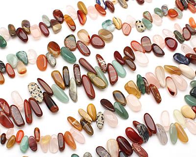Multi Gemstone (Red Jasper, Rose Quartz, Amazonite, Aventurine) Tumbled Nugget Drop 8-15x15-28mm