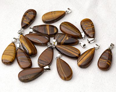 Tiger Eye Flat Teardrop Pendant 14-15x32-33mm