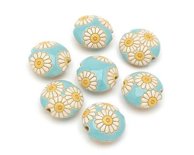 Golem Studio Daisies on Blue Carved Ceramic Lentil 23mm