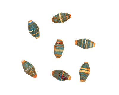 African Paper (turquoise, white, orange) Rice 10-11x5-6mm