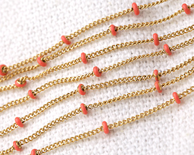 Gold (plated) Stainless Steel Coral Satellite Chain