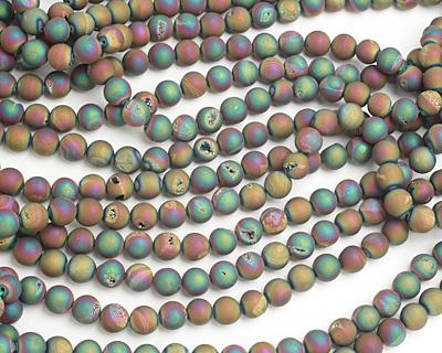 Matte Metallic Rainbow Agate w/ Druzy (plated) Round 10mm