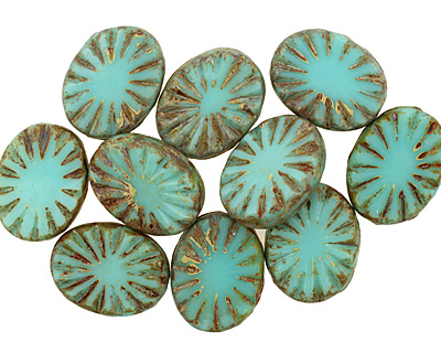 Czech Glass Turquoise Picasso Flower Window Oval 17x13mm