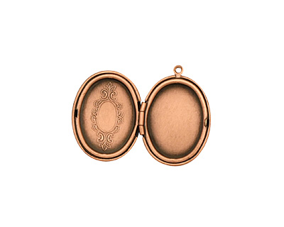 Antique Copper (plated) Oval Baroque Heirloom Locket 22x31mm