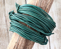 Natural Emerald Round Leather Cord 2mm, 16 feet