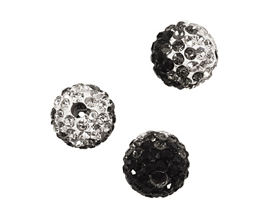 Jet/Crystal Ombre Pave Round 8mm
