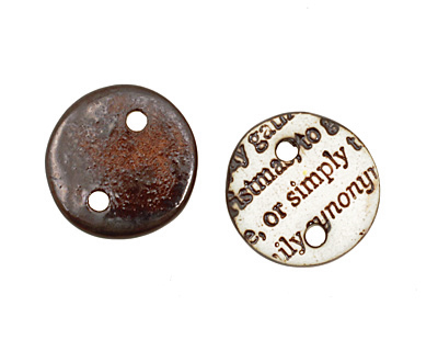 Earthenwood Studio Ceramic Oxidation Small Round Text Link 18mm