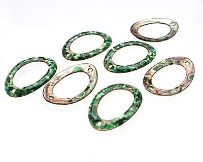 C-Koop Enameled Metal Green Mix Large Oval Link 34-38x24-25mm