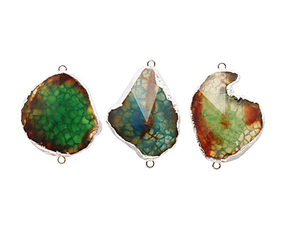 Green Agate Pendant Link set in Silver (plated) 25-42x25-35mm