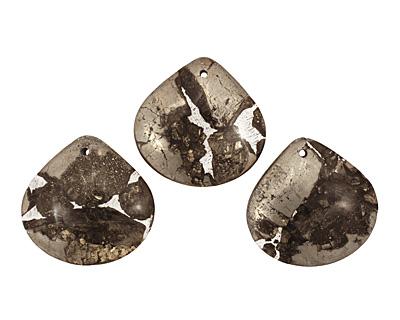 Golden Pyrite (silver tone in resin) Flat Teardrop Pendant 40mm