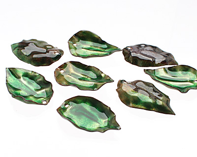 C-Koop Enameled Metal Peacock Green/Clear Round Leaf 19-21x30-33mm