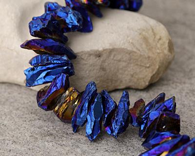 Metallic Blue Cosmos Quartz Shards 5-12x10-30mm