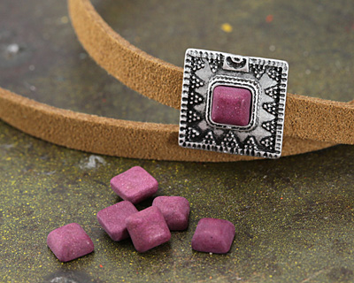 Matte Ruby Resin Square Cabochon 6mm