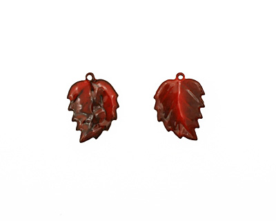 C-Koop Enameled Metal Medium Red Leaf 15x20mm