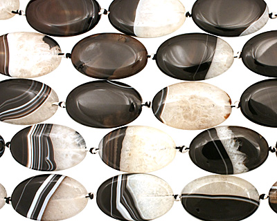 Black Sardonyx Flat Oval 40x25mm