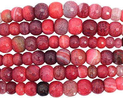Ruby Line Agate Faceted Rondelle Graduated 6-13x11-21mm