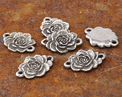 Green Girl Pewter Rose Link 27x19mm