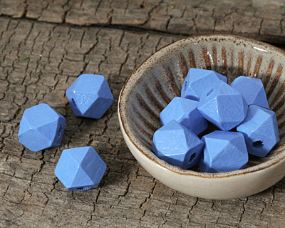 Alice Blue Wood Faceted Nugget 10mm