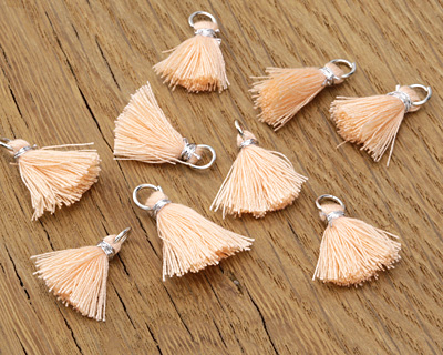 Apricot w/ Silver Binding & Jump Ring Thread Tassel 18mm