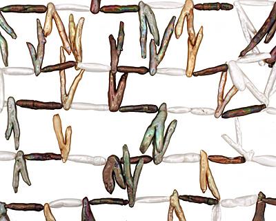 Multi Biwa Branch (pearly white, peacock, iris green) 9-19x5-40mm