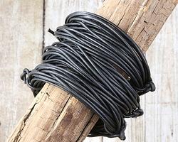 Metallic Gunmetal Round Leather Cord 2mm, 32 feet