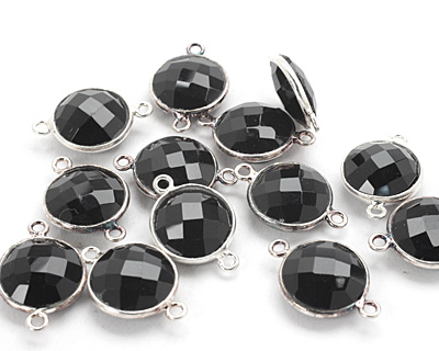 Black Onyx Faceted Coin Link in Sterling Silver 19-20x13mm