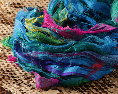 Capri 100% Silk Sari Windswept Ribbon