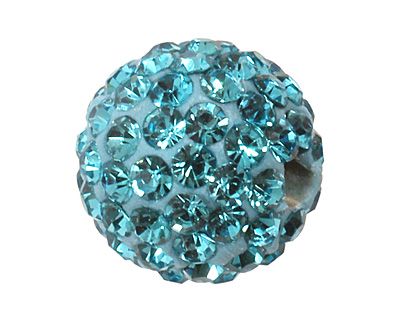 Aquamarine Pave Round 10mm (1.5mm hole)